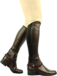 Saxon. Women's Equileather Half Chaps Boots, Brown, X-Large