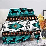Binienty Luxuriöse Bettwäsche für Kinder und Erwachsene, Navajo, Azteken-Pferd, Traumfänger, türkisfarben, weicher Fleece-Überwurf