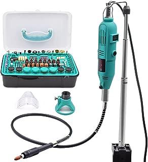 GOXAWEE Mini amoladora eléctrica 130W Mini Taladro - Kit de herramientas rotatorias multifunción con 288 accesorios/Velocidad variable para artesanías