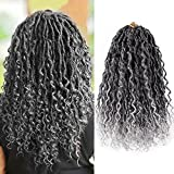 6 Packs New Goddess Locs Crochet Hair 14 Inch Faux Bohemia Locs with Curly in Middle and Ends for Black Women Boho Hippie Locs Synthetic Braiding Hair Extension(14 inch,6Packs,1B-Gray)