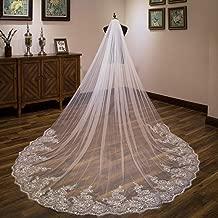 cici store 4x1.8M 1 Tier Bridal Glitter Sequins Floral Lace Trim Wedding Veil,Cathedral Length Romantic Tulle Bridal Veil