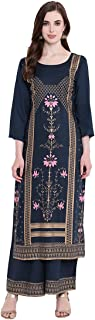 BI AMMA PLUS SIZE RAYON PRINTED STRAIGHT FIT KURTA AND FLARED PRINTED PALAZZO SET