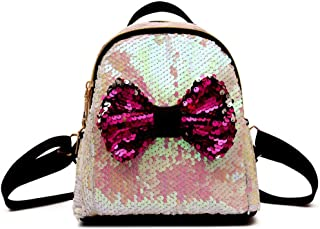 Cute Bow Sequins Backpacks Women Fashion Mini Backpack For Girls School Bags 2019 Sweet Lady Glitter Travel Bag