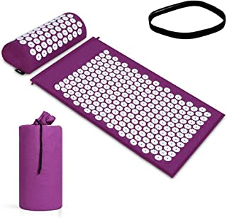 Acupressure Mat Pillow Set/Acupuncture Mat Spike Yoga Mat for Massage Wellness Relaxation and Tension Release Muscle Relax...