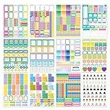 Pegatinas de Planificador,12 Pcs Happy Planner Pegatinas Agenda para Bullet Journal Scrapbooking, Pegatinas Esenciales para Calendario de Bricolaje, álbum de Recortes y Agendas,Multicolor (#B)