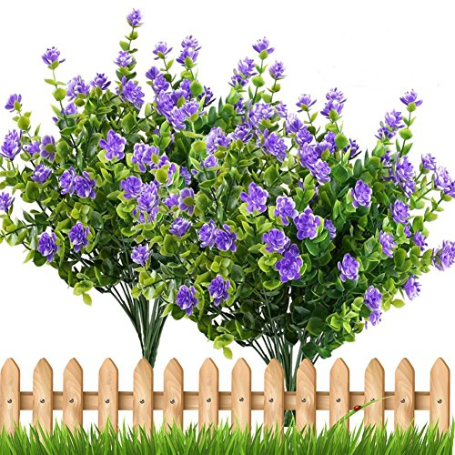 PQZATX 4pcs Fake Plants Artificial Greenery Shrubs Eucalyptus Branches with Purple Baby's Breath Flower Plastic Bushes House Office Garden Patio Yard Indoor Outdoor Decor