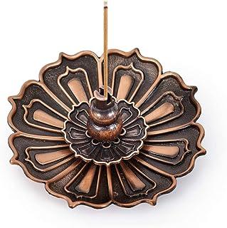 HOKPA Lotus Incense Burner Holder Censer for Sticks Cones Coils Incense Home Fragrance Accessories (1PC Bronze)
