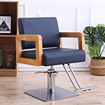 Lounge Chair Armchair Lifting Rotary Adjustable Hairdressing Chair Reclining Bar Cafe Chair,Navy,Stainlesssteel