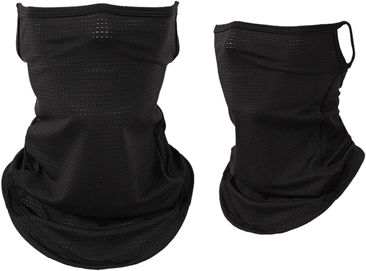 CHIC DIARY Face Scarf Bandanas Ice Silk UV Protection Ear Loops Neck Gaiter Headwear Balaclava for Dust Outdoors Sports