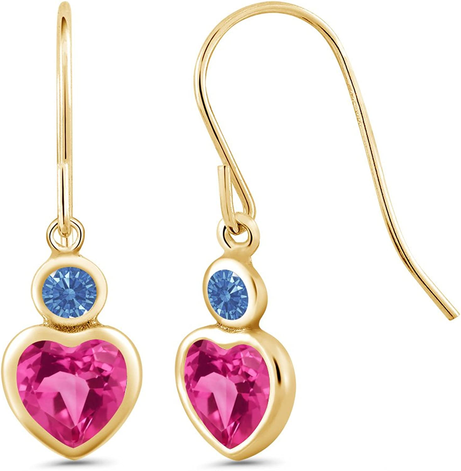 1.42 Ct Pink 14K Yellow gold Earrings Made With Swarovski Zirconia