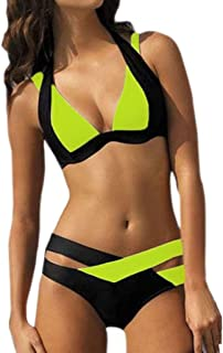 FORUU Swimsuit Sexy 2 Piece Bikini Women Swim Beachwear Print Bandage Swimsuit