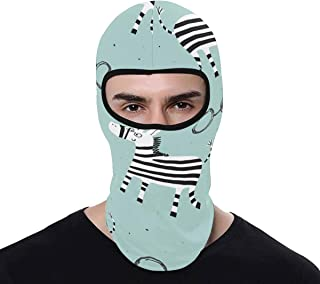 INTERESTPRINT Funny Zebra Balaclava Full Face Mask Motorcycle Helmet Liner Breathable Multipurpose Outdoor Sports Head Hood