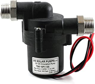 US SOLAR PUMPS.COM S5-15PV-Cu - 3 GPM - Food Grade - 12V Solar Hot Water Pump - Can be run by a 15W solar panel