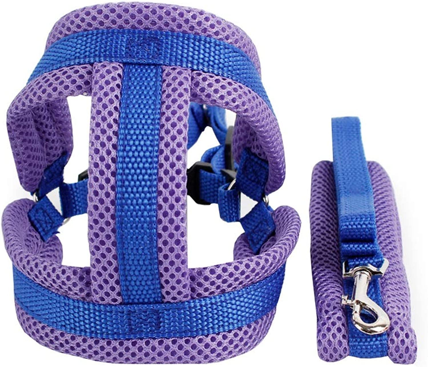 Dog Vest Harness, Chest Straps, Traction Leash, Teddy Chain for Small Clothes Outdoor Training Walking Running Rope Cat Safety Buffer Harness (color   bluee, Size   M)