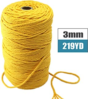 Mygogo Macrame Cord 3mm x 219Yards (About 200m,656feet) Mustard Colored Cotton Macrame Rope 4 Strand Twisted Soft Cotton Cord for Handmade Wall Hanging Plant Hanger Craft Making DIY Knotting Decoratio