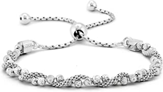 Italian .925 Sterling Silver Diamond-Cut Ball Covered by Twisted Coreana Adjustable Bolo Bracelet