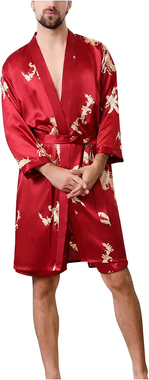 Satin Robe Dragon Pattern Print Silk Under blast sales Luxurious discount Sleeve Spa Short