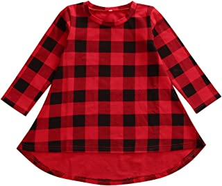 Lovely Baby Kids Girl Long Sleeve Plaids Checked Party Princess Floral Dresses Tutu