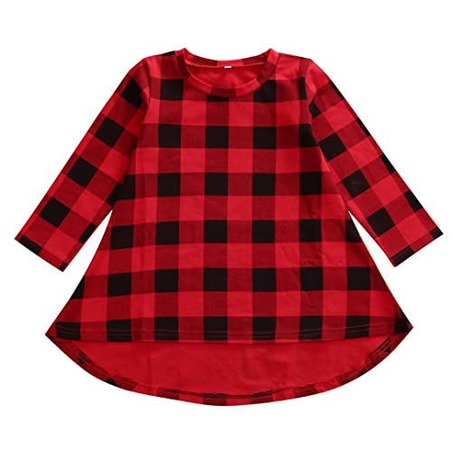 1ab26c31cb8 Lovely Baby Kids Girl Long Sleeve Plaids Checked Party Princess Floral  Dresses Tutu