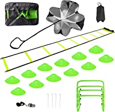 pingqian Speed Agility Training Set, Includes Agility Ladder, Resistance Parachute, Whistle, 12 Agility Disc Cones,4 Hurdl...