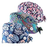 MARSTOMOON 3pc Adjustable Working Cap with Button Sweatband for Women Men (Animals) (Flowers)