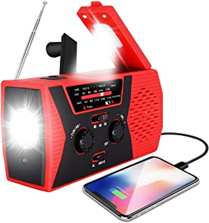 [2020 Upgraded Version] RegeMoudal Emergency Solar Hand Crank Radio, NOAA Weather Radio for Emergency with AM/FM, LED Flas...