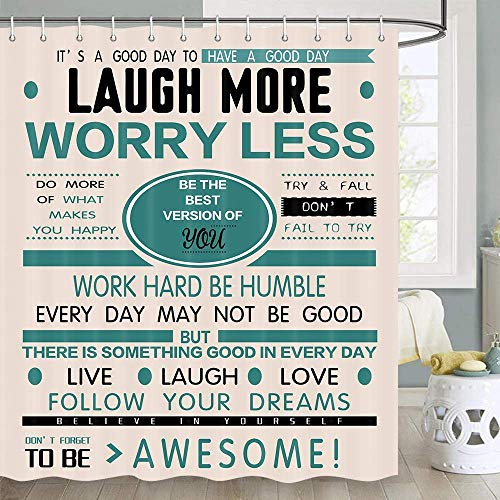JAWO Inspirational Motivational Happiness Quotes Shower Curtain, Words Laugh More Worry Less Inspirational Motivational Bathroom Shower Curtain, Fabric Shower Curtain Hooks Include, 70 in, Cream Teal