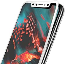 MOCOLO for Apple iPhone X Tempered Glass Screen Protector 9H Full Coverage Color White Print Front Protective Cover Film [Anti-Fingerprint] [High Definition][2 Pack](Transparency)