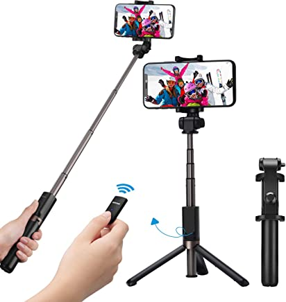Mpow Selfie Stick Tripod, 2 in 1 Selfie Stick Tripod Monopod Phone Holder with Wireless Bluetooth Remote for iPhone XS/XS Max/XR/X/8 Plus/8/7 Plus/7/Samsung Galaxy up to 3.5-6 inch Phones, Black