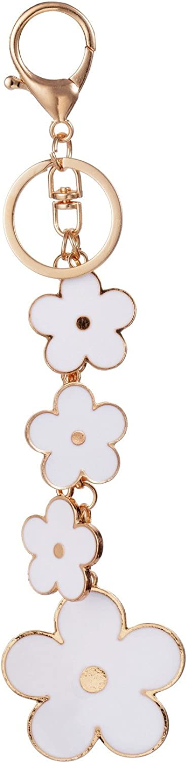 Giftale Women's Flower Bag Charms Enameled Keychain Purse Accessories