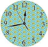 chazuohuaile Co.,ltd Reloj de Pared con diseño de Aguamarina silenciosa con Peces pequeños, Divertido Ojo de Buey náutico, periscopio, Tema oceánico, Reloj de Pared