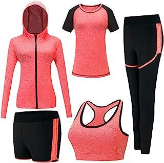 ZETIY Women's 5pcs Sport Suits Fitness Yoga Running Athletic Tracksuits (XL, Orange)