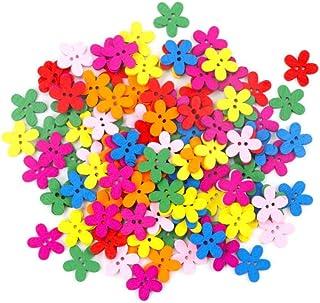 HKFG 100pcs 14x15mm Fleur Bouton décoration Couture Scrapbooking Boutons en Bois
