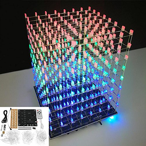 ILS - DIY WiFi app 8x8x8 3D Light Cube Kit Rood Blauw Groen LED MP3-muziekspectrum elektrische kit nee behuizing