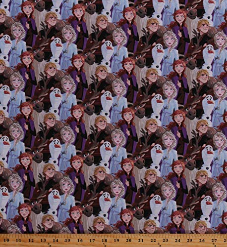 Cotton Frozen 2 Characters Anna Elsa Olaf Kristoff Sven Packed Friends Forever Kids Cotton Fabric Print by The Yard (D585.44)