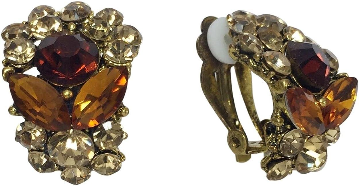 Half Hoop Fancy Rhinestone Clip on Formal Earrings - Multiple colors