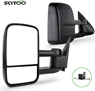 SCITOO Towing Mirrors, fit Chevy GMC Exterior Accessories Mirrors fit C1500 C2500 C3500 K1500 K2500 K3500 1988-1998 with Convex Glass Manual Controlling and Telescoping Features