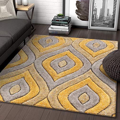 Well Woven Moira Yellow Geometric Trellis Thick Soft Plush 3D Textured Shag Area Rug 5x7 (5'3' x 7'3')