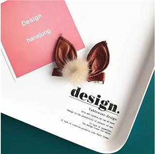 Osize 美しいスタイル ウサギの耳毛玉ヘアピンサイドクリップヘアピンヘッドドレスヘアデコレーションクリップ(キャラメルカラー)