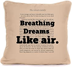 The Great Gatsby Quote - 'Breathing Dreams Like Air' - Cushion Pillow Cover - Scott F. Fitzgerald - Perfect Accessories. 18 x 18 Inch.