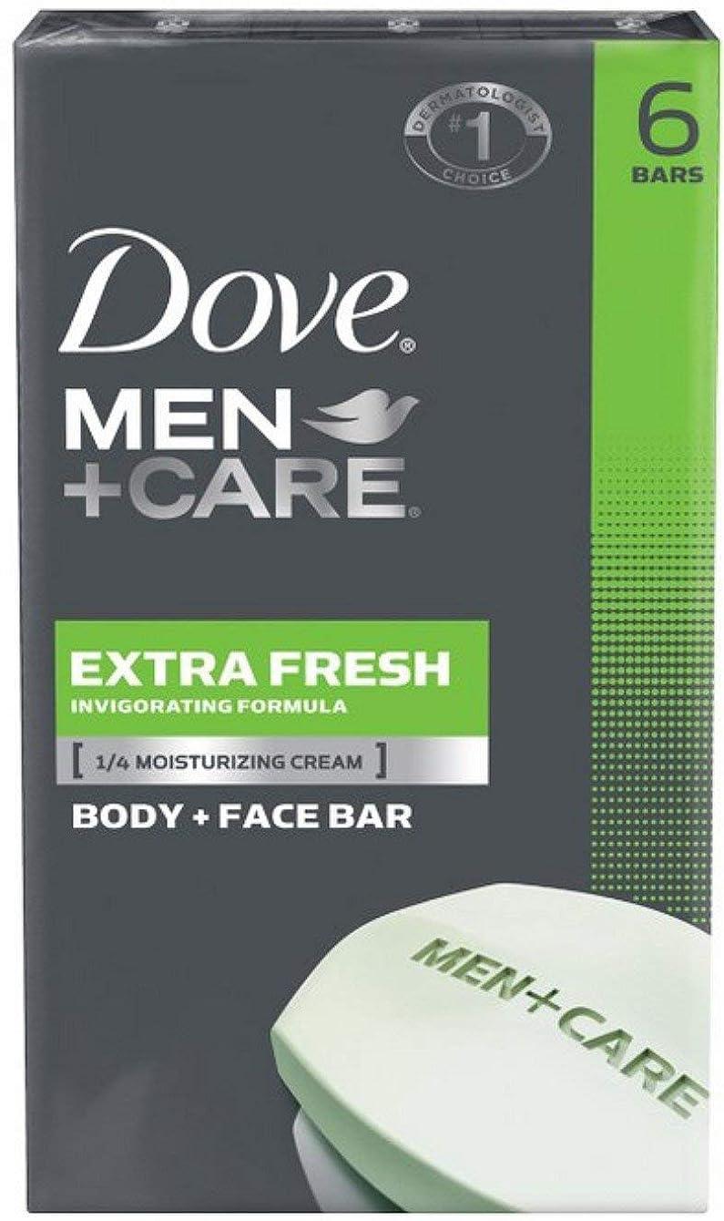 前投薬主観的光電Dove Men + Care Body and Face Bar, Extra Fresh 4oz x 6soaps ダブ メン プラスケア エクストラフレッシュ 固形石鹸 4oz x 6個パック