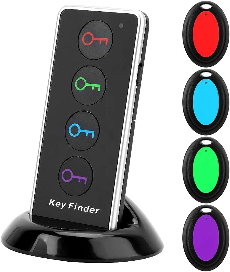 Key Finder, with 1 Transmitter and 4 Receivers 5 Kit Smart Tracker Wallet Finder, Wireless for Wallet Keys
