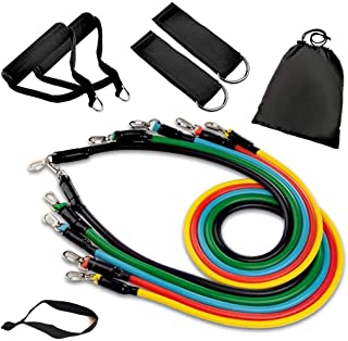 11 Pcs Resistance Bands Set, Workout Exercise Bands - with Door Anchor, Handles and Ankle Straps - Stackable Up to 100 lbs...