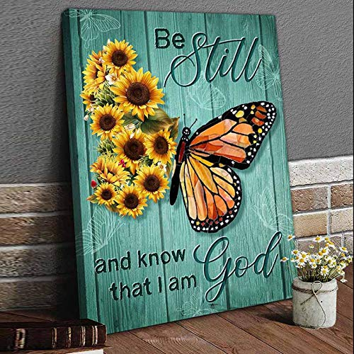 Rustic Wall Art Sunflower Butterfly Turquoise Canvas Prints for Bathroom I am God Quotes Wall Decor Farmhouse Flora Themed Pictures Modern Home Decorartion Paintings Framed for Kitchen Bedroom 12