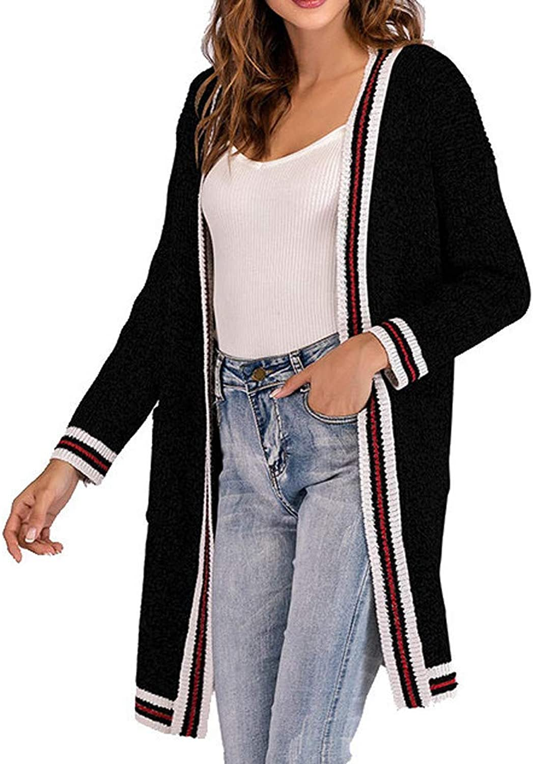 Women's Warm Loose Cotton Over Knee Knitted Sexy Hooded Sweater Coat Long Sleeve Stripe Cardigan Elegant Elastic Tunic Tops