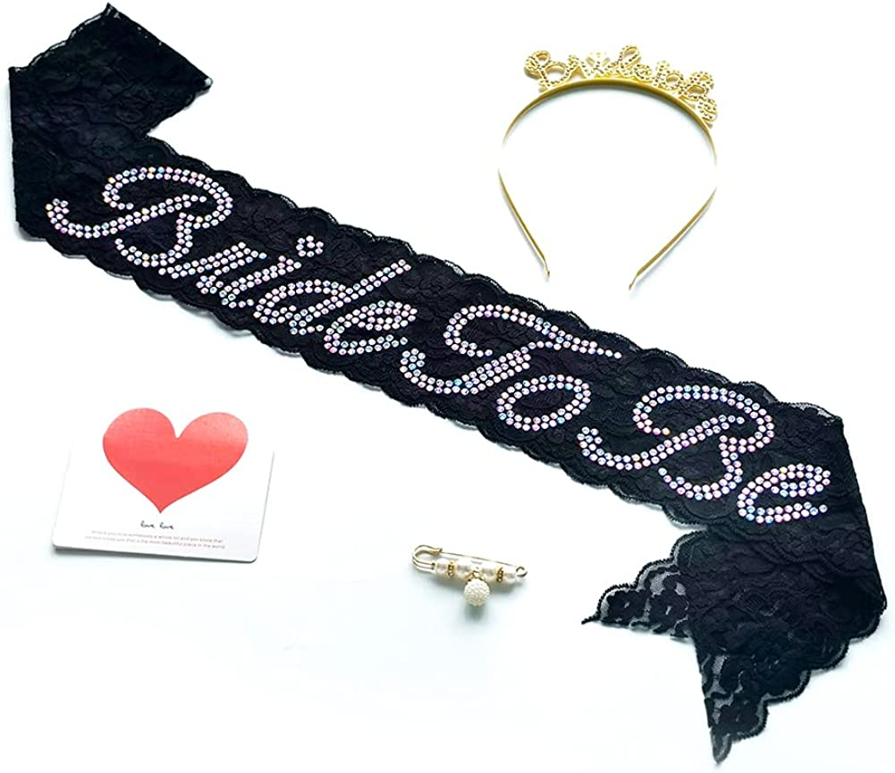 Rhinestone Bride to Be Lace Sash and Tiara, Bridal Sash for Bachelorette Party Bridal Shower Gifts