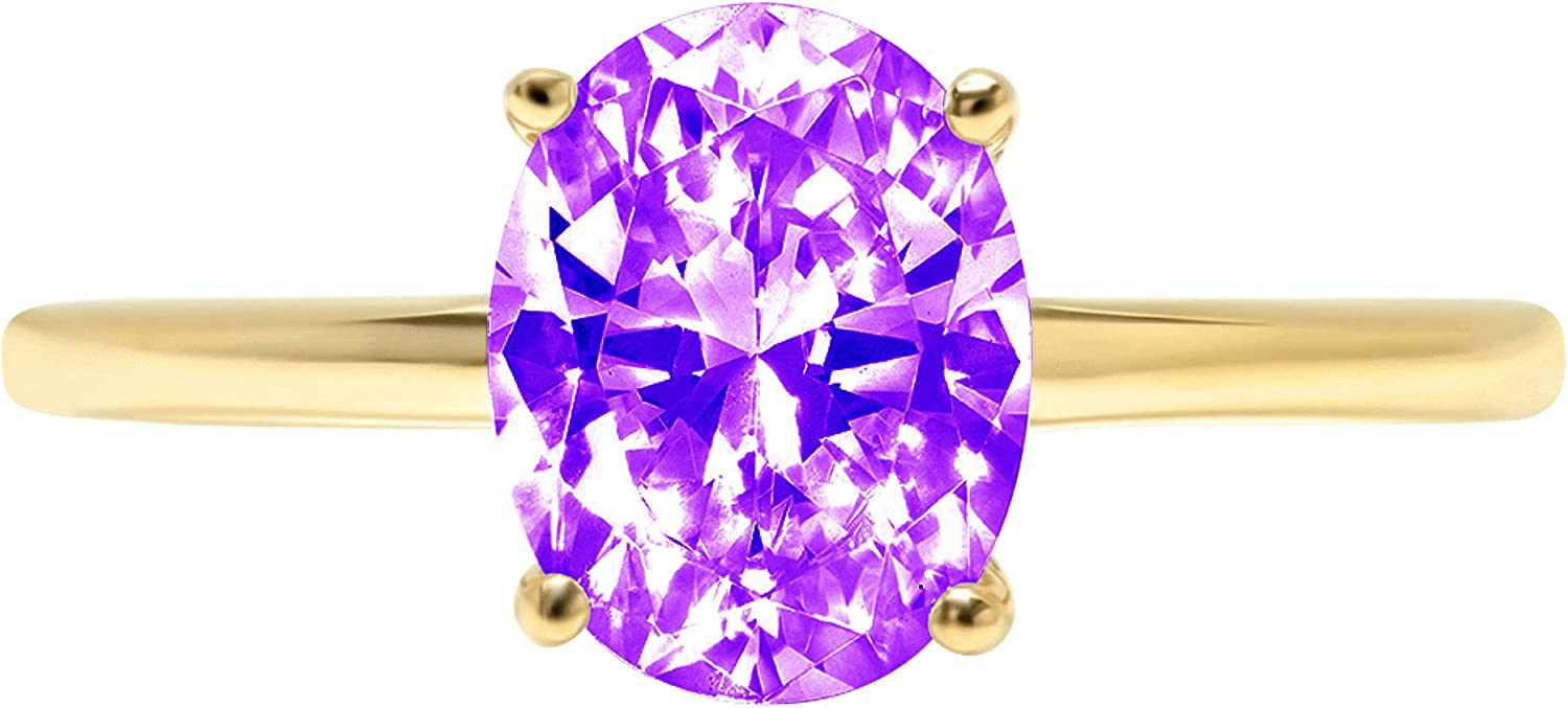 2.5ct Brilliant Oval Cut Solitaire Natural Purple Amethyst Gem Stone Ideal VVS1 4-Prong Engagement Wedding Bridal Promise Anniversary Ring Solid Real 14k Yellow Gold for Women