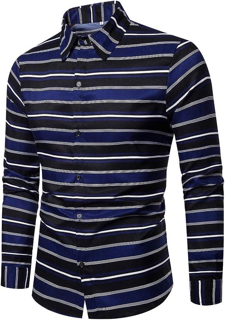 MODOQO Men's Business Leisure Retro Long-Sleeved Shirt Top Blouse