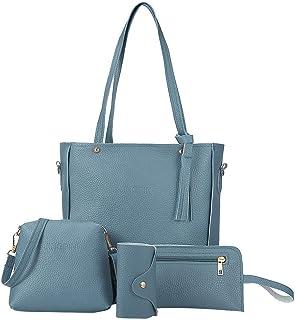 Tote Bags Set 4PC, 2021 Women Fashion Synthetic Leather Shoulder Bag Messenger Bag Wallet Handbag Set