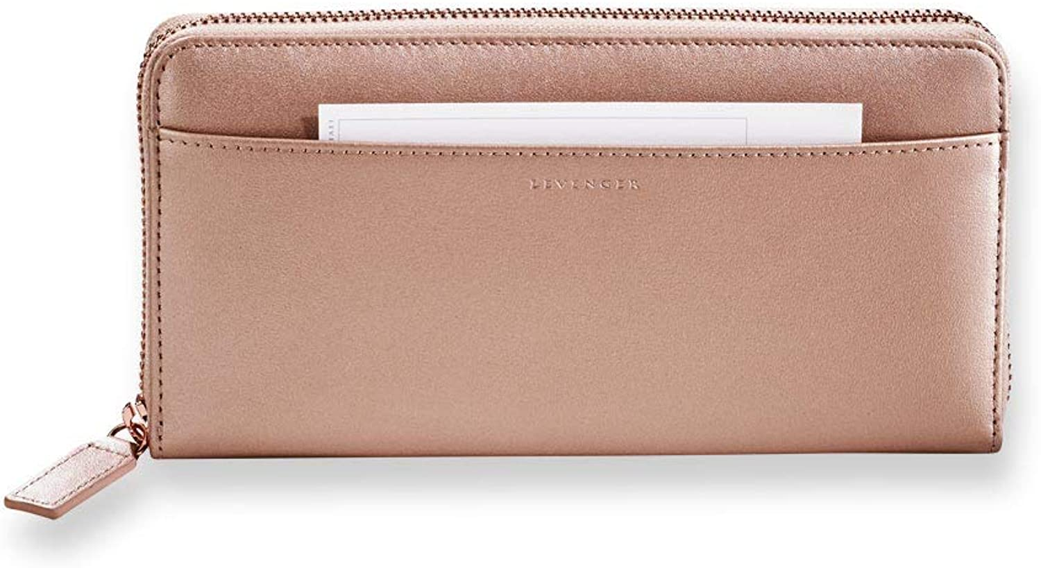 Levenger pink gold Accordion Wallet